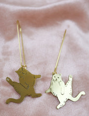 Judgemental big cats sawed & engraved brass earrings