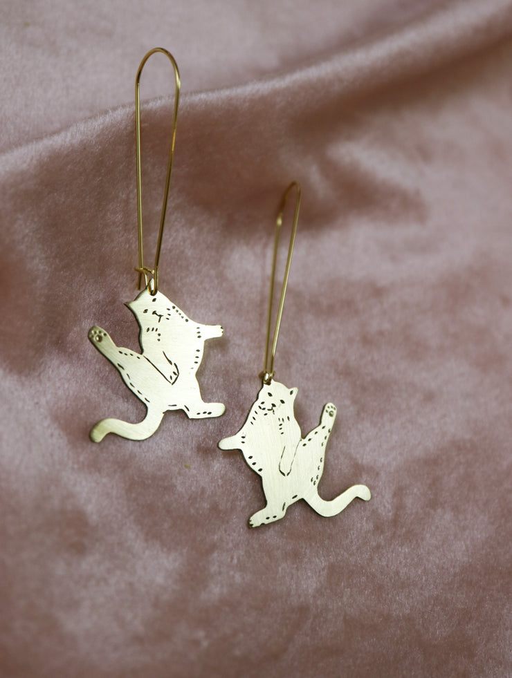 Judgemental small cats sawed & engraved brass earrings