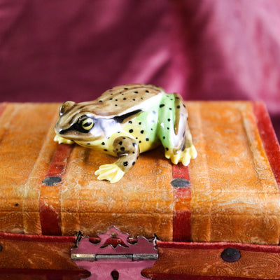 Miniature spotted frog figurine