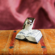 Miniature reading owl figurine