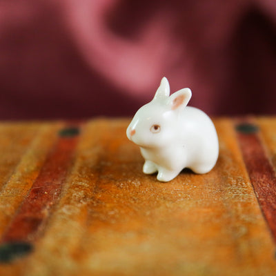 The tiniest miniature bunny figurine