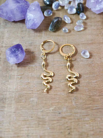 Golden snake charmer earrings