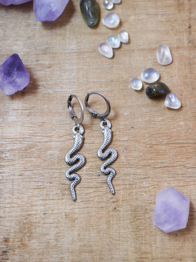 Silver snake charmer earrings