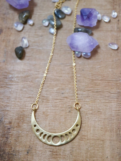 Golden moon phase cresent necklace