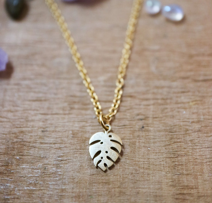 Golden monstera necklace