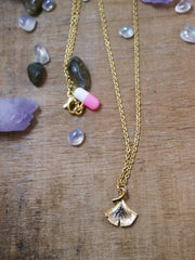 Golden ginkgo necklace