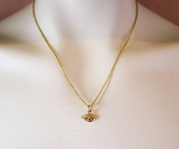 Golden all-seeing eye necklace