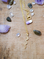 Sparkling golden serpent necklace