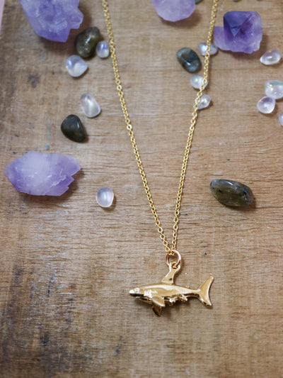 Golden shark necklace