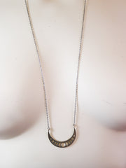 Silver moon phase cresent necklace