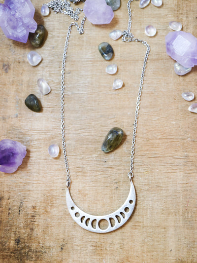 Big silver moon phase cresent necklace
