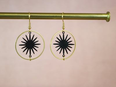 Turning black star earrings