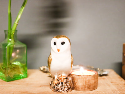 Barn owl tea light holder