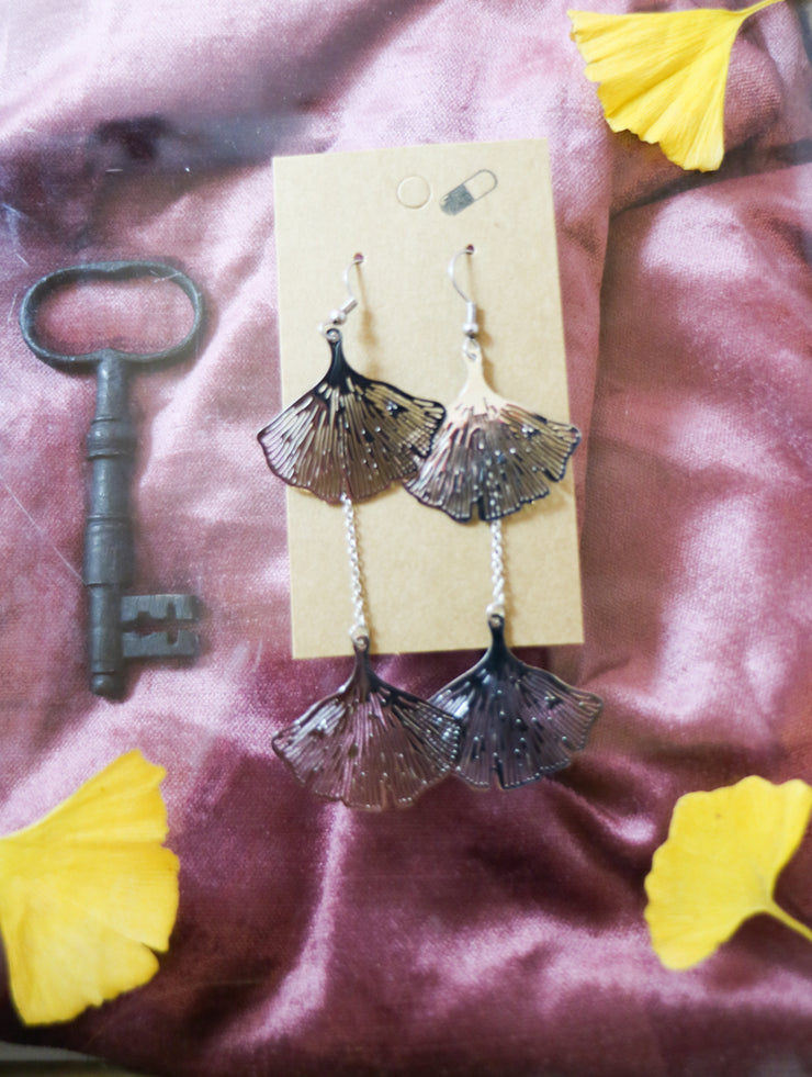 Dangly silver ginkgo earrings