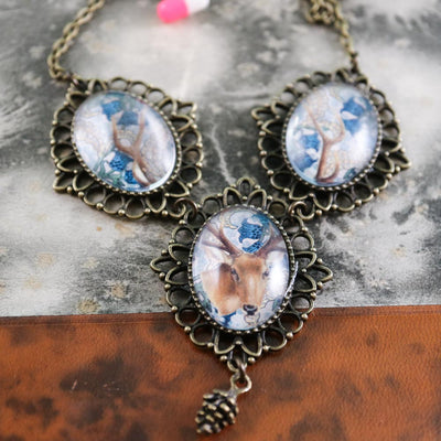 Blue trinity deer necklace