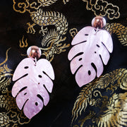 Marbled pink monstera earrings