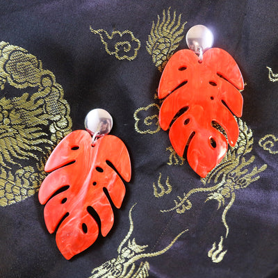 Marbled red monstera earrings