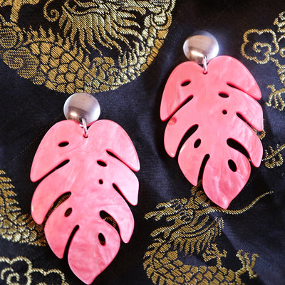 Marbled cerise monstera earrings