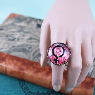 Red marble feminist ring