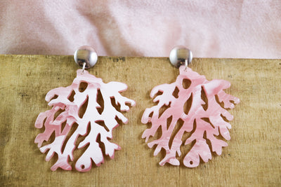Big pink coral earrings