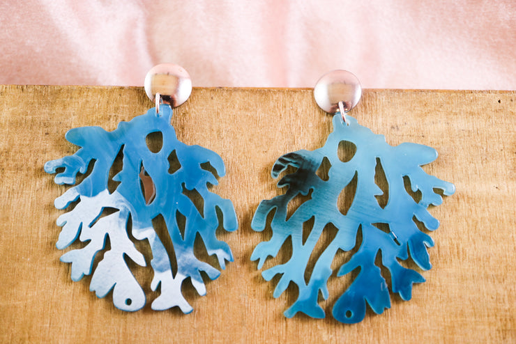 Big blue coral earrings
