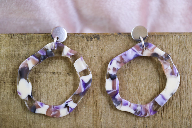 Organic circle earrings smokey purple