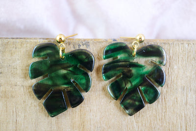 Small monstera earrings smokey green