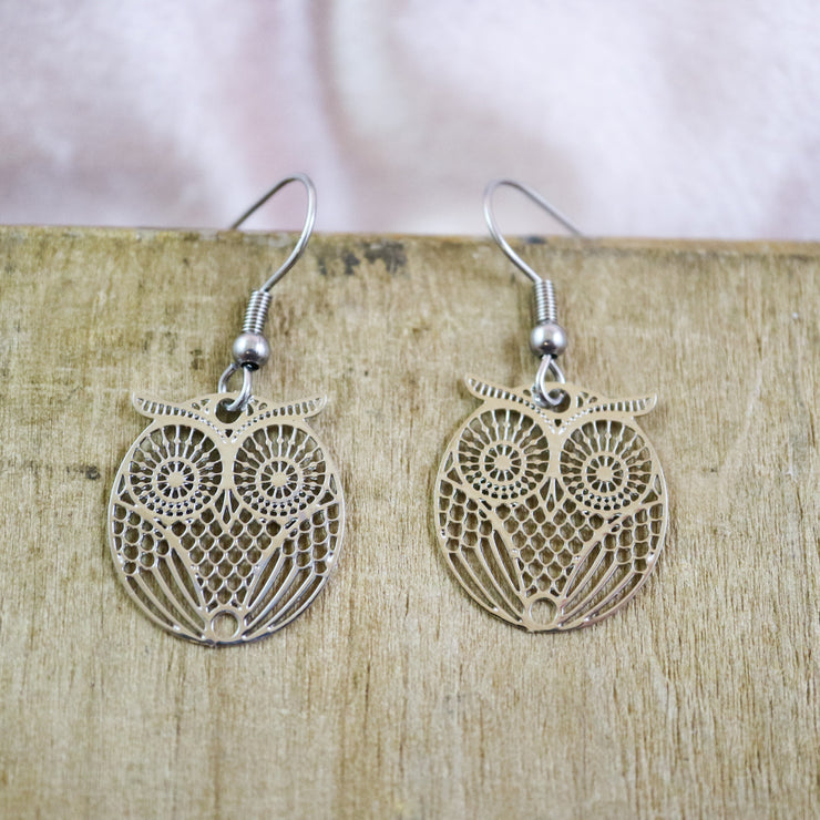 Silver hoot earrings
