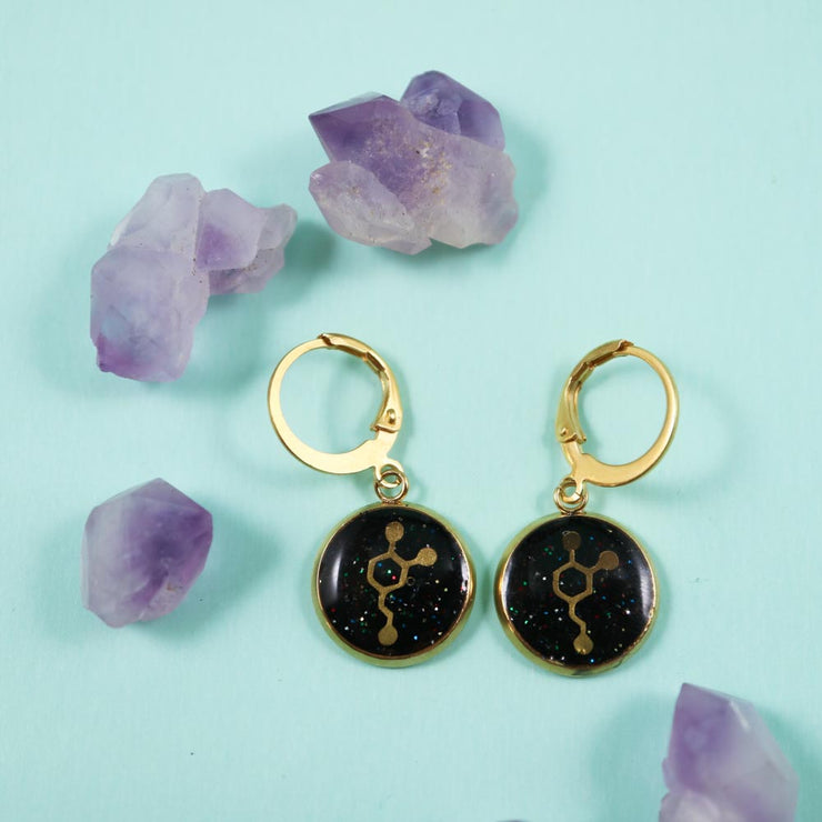 Dopamin molecule golden earrings