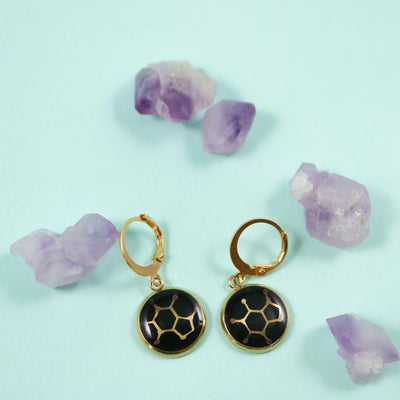 Caffeine molecule golden earrings