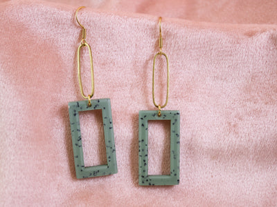 Dangly blue rectangular earrings