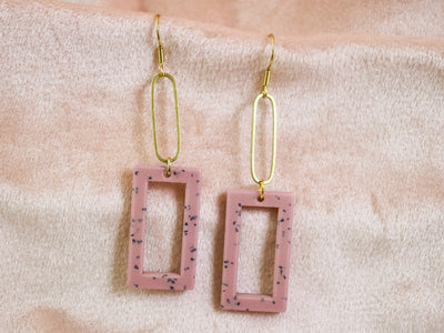 Dangly pink rectangular earrings