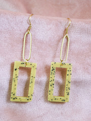 Dangly yellow rectangular earrings