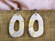 Organic oval citrus streak earrings