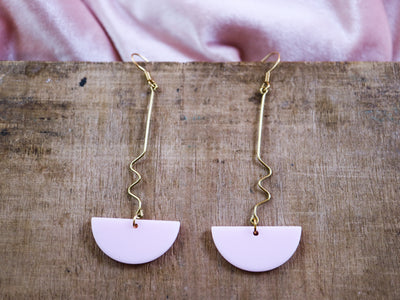 Dangly powdery pink semicircle earrings