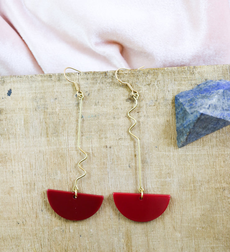 Dangly red semicircle earrings