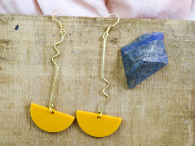 Dangly mustard semicircle earrings