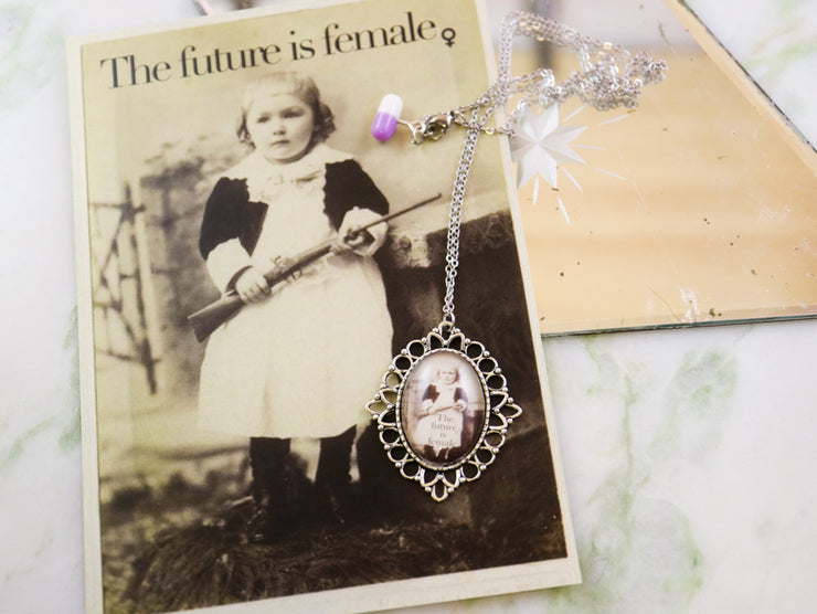 The future is female feminist necklace