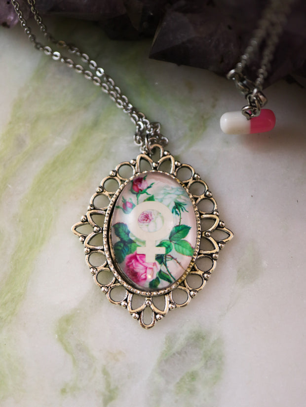 Floral feminist necklace
