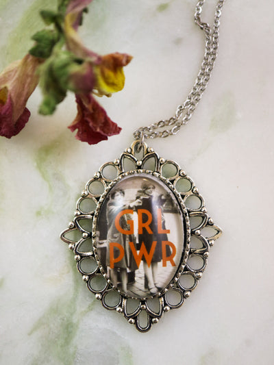 GRL PWR feminist necklace