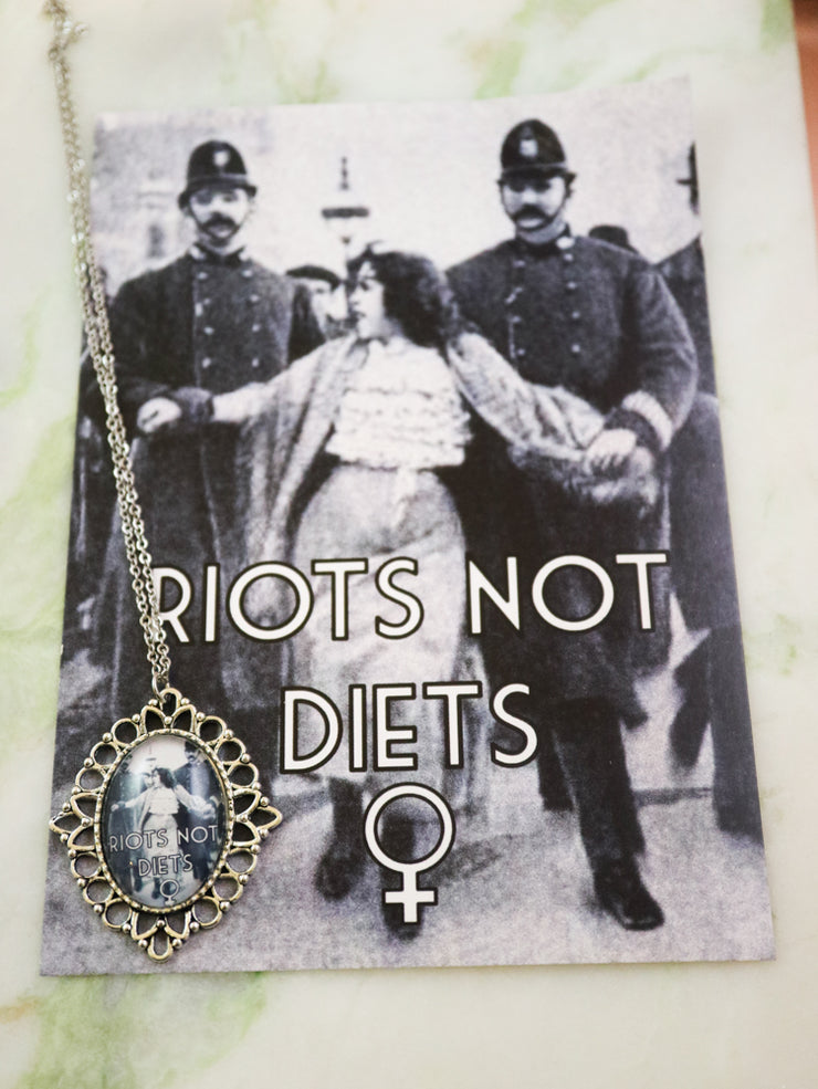 RIOTS NOT DIETS feminist necklace