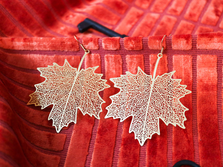 Big and bold maple leaf earrings