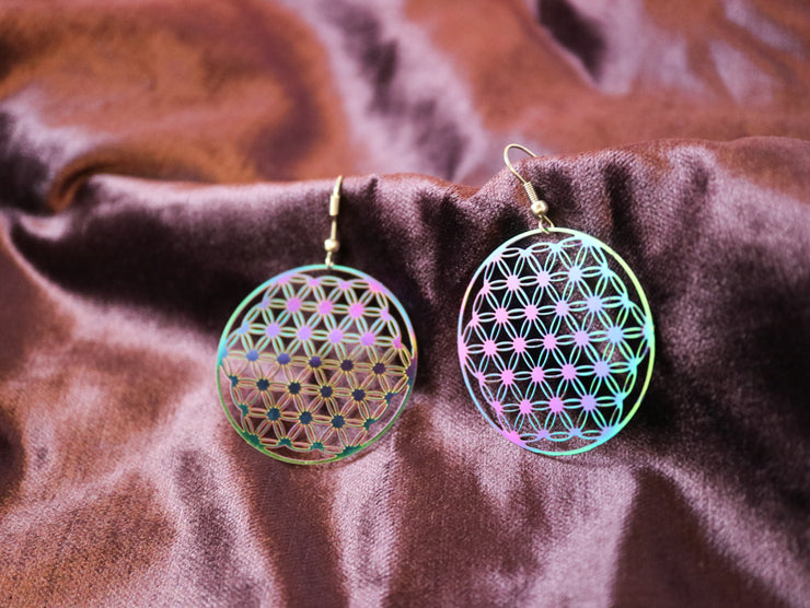 Titanium mandala earrings
