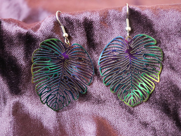 Titanium monstera earrings