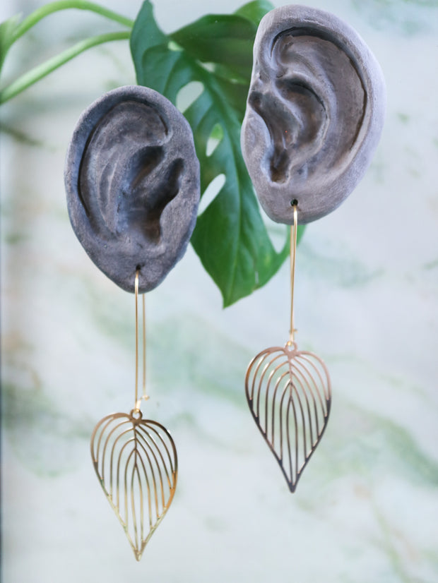Long golden sweetheart philodendron earrings