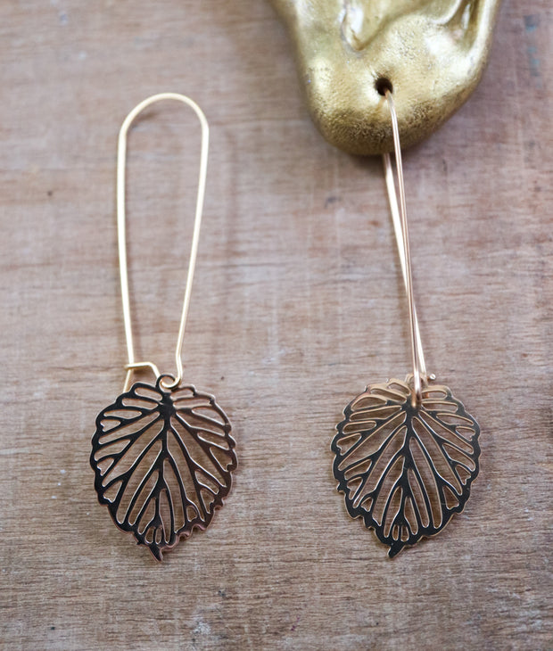 Long aspen leaf earrings
