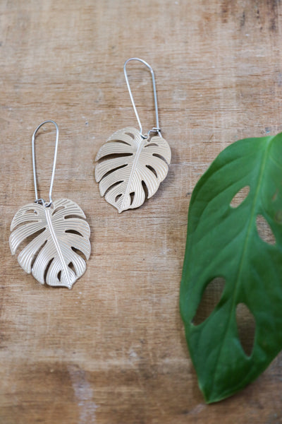 Long silver monstera leaf earrings
