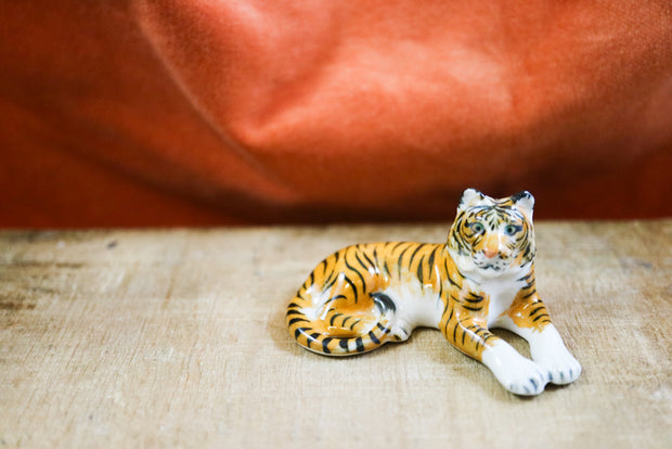 Small lounging tiger figurine
