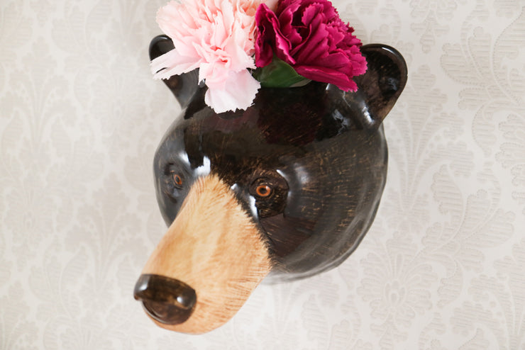 Big black bear wallvase