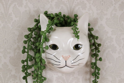 white cat small wallvase